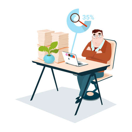 Business Man Stacked Paper Document Paperwork Magnifying Glass Data Search Flat Vector Illustration