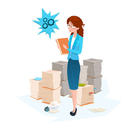 Business Woman Stacked Paper Document Paperwork Flat Vector Illustration