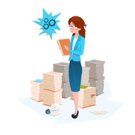 Ilustración de la mujer de negocios papel apilado de documentos de oficina plano vectorial