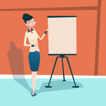 Business Woman With Flip Chart Seminar Training Conference Brainstorming Presentation Flat Vector Illustration Illustration