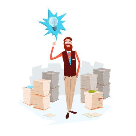 Business Man Light Bulb New Idea Stacked Paper Document Paperwork Flat Vector Illustration
