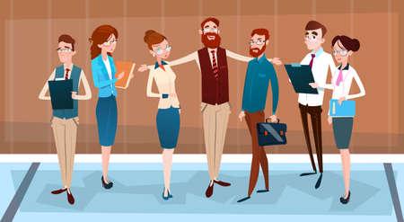 teamwork: Cartoon Business People Group Team Businesspeople Teamwork Flat Vector Illustration