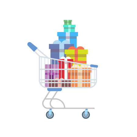 holiday shopping: Shop Cart With Present Gift Boxes Holiday Shopping Marketing Sale Flat Vector Illustration