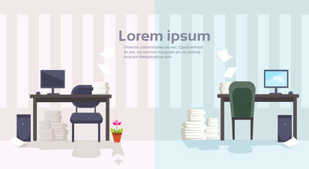 paperwork: Modern Office Interior Workplace Empty Chair Desk Stacked Paper Document Lot Paperwork Flat Vector Illustration