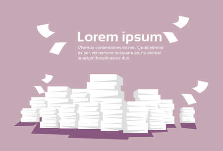 pile of documents: Stacked Paper Pile Of Documents Banner With Copy Space Flat Vector Illustration Illustration