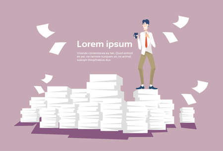 paperwork: Business Man Stacked Paper Document Paperwork Flat Vector Illustration