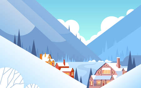 Winter Mountain Village landschap achtergrond, Sneeuw Bomen Bos Flat Vector Illustration