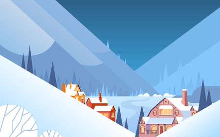 snow landscape: Winter Mountain Village Landscape Background, Night Snow Trees Forest Flat Vector Illustration