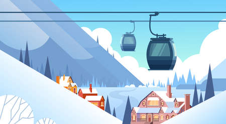 cableway: Cable Car Transportation Rope Way Over Winter Mountain Hill Village Background Flat Vector Illustration Illustration