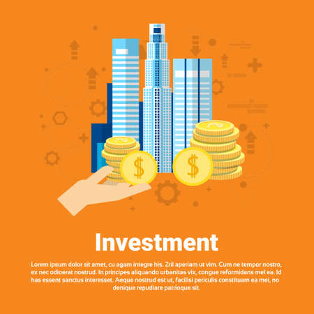 investor: Investment Money Investor Business Web Banner Flat Vector Illustration