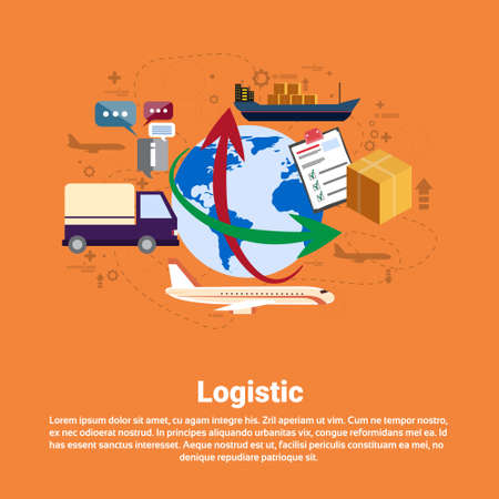 hauling: Logistic Shipping Delivery Service Web Banner Flat Vector Illustration Illustration
