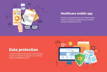 Datenschutz, Medical Application Health Care Medicine Online Web Banner Wohnung Vector Illustration