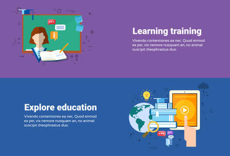 web courses: Learning Training Courses Education Web Banner Flat Vector Illustration