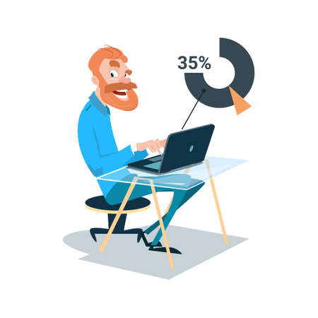 Business Man Sitting Desk Work Laptop Computer Flat Vector Illustration Illustration