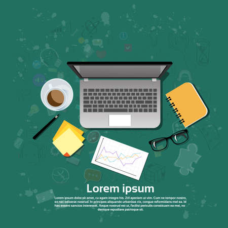 notebook computer: Workplace Desk Laptop Computer Notebook Coffee Top Angle View Flat Vector Illustration Illustration