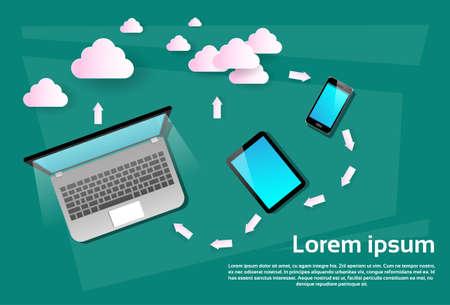 data synchronization: Laptop Computer Tablet Cell Smart Phone Cloud Database Data Synchronization Flat Vector Illustration