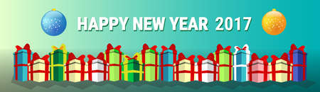 new year decoration: Happy New Year Decoration Celebration Banner Flat Vector Illustration Illustration