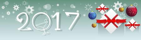 postcard box: Happy New Year Decoration Celebration Banner Flat Vector Illustration Illustration