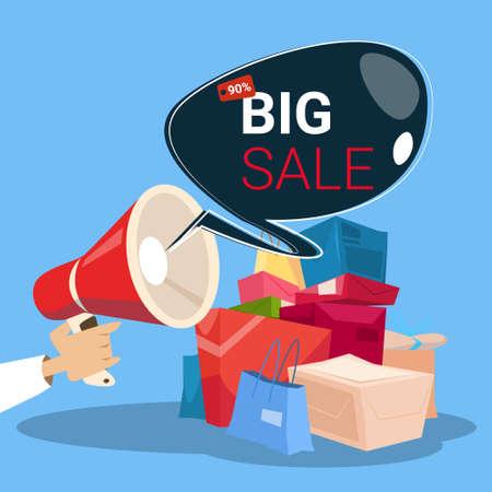 Megaphone Black Friday Big Sale Holiday Shopping Banner Copy Space Vector Illustration Illustration
