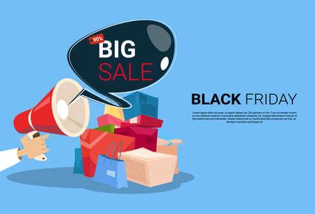 Megafon Black Friday Big Sale Holiday Shopping Banner Textfreiraum Vektor-Illustration Vektorgrafik