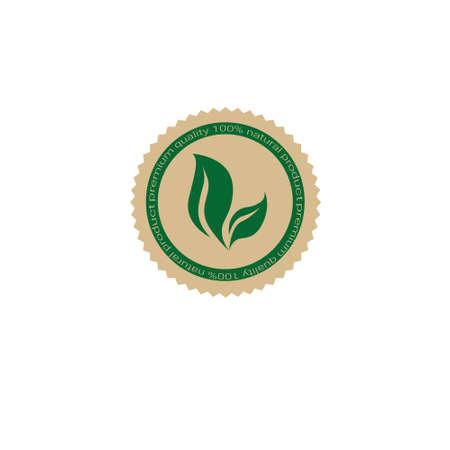 Eco Friendly Organic Natural Product Web Icon Retro Green Flat Vector Illustration Vektoros illusztráció