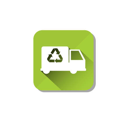 Car Truck Recycle Symbol Green   Web Icon Flat Vector Illustration