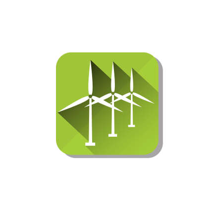 wind power: Wind Turbine Tower Energy Recycle Technology Icon Flat Vector Illustration