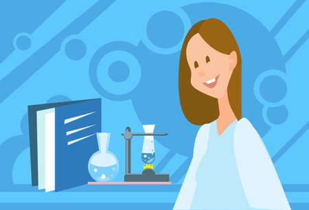 scientist woman: Scientist Woman Working Research Chemical Laboratory Flat Vector Illustration Illustration