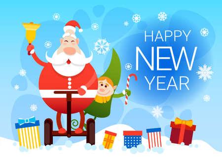 Santa Claus And Elf Ride Electric Mono Wheel Christmas Holiday Happy New Year Greeting Card Flat Vector Illustration
