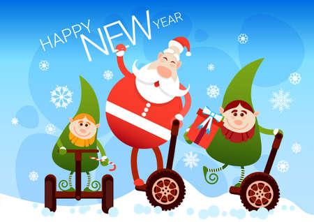 santa helper: Santa Claus And Elf Ride Electric Mono Wheel Christmas Holiday Happy New Year Greeting Card Flat Vector Illustration