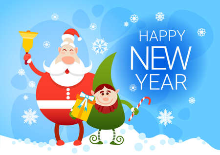 Smiling Santa Claus And Christmas Elf With Holiday Present Happy New Year Flat Vector Illustration
