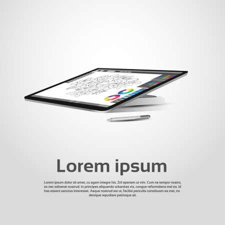 retouch: Desktop Modern Computer Graphic Designer Workplace Vector Illustration