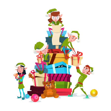 Christmas Elf Group Cartoon Character Santa Helper With Present Box Stack Flat Vector Illustration Vettoriali
