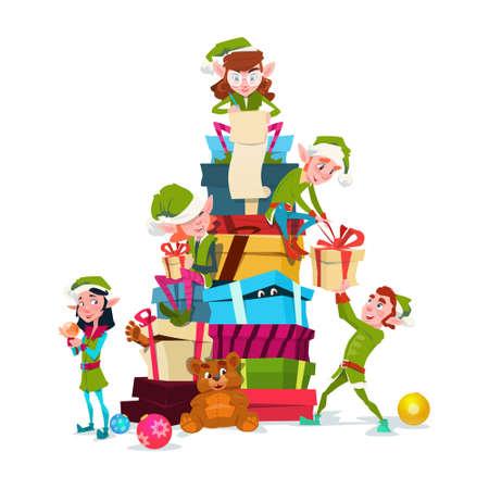 Christmas Elf Group Cartoon Character Santa Helper With Present Box Stack Flat Vector Illustration Vectores