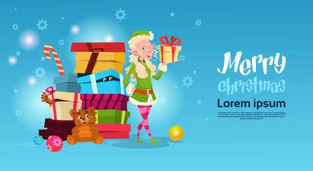 Christmas Elf Girl Cartoon Character Santa Helper With Present Box Flat Vector Illustration Stock Illustratie