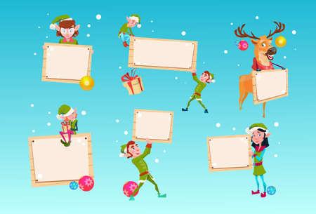 santa helper: Christmas Elf Group Reindeer Cartoon Character Santa Helper Hold Empty Sign Board Banner Set Flat Vector Illustration Illustration