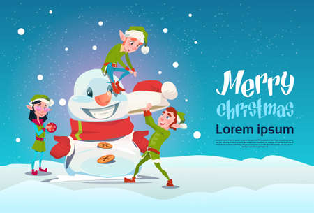 Santa Green Elf Group Making Snowman Merry Christmas Happy New Year Banner Flat Vector Illustration Illustration