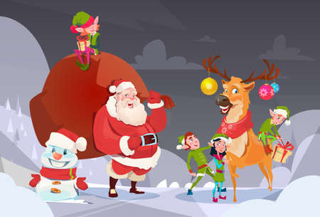 elfs: Santa Claus With Reindeer Elfs Gift Sack Happy New Year Merry Christmas Banner Flat Vector Illustration