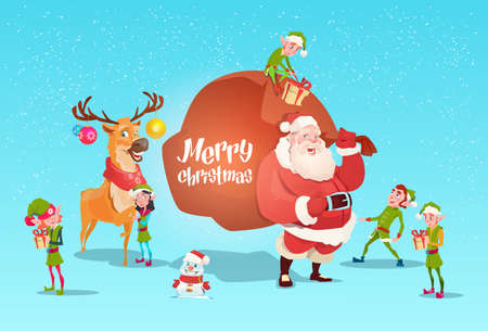 Santa Claus With Reindeer Elfs Gift Sack Happy New Year Merry Christmas Banner Flat Vector Illustration