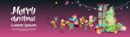 Verde Elf Group portare regali all'albero di Natale Greeting Card Illustrazione decorazioni Happy New Year Banner piatto Vector Vettoriali