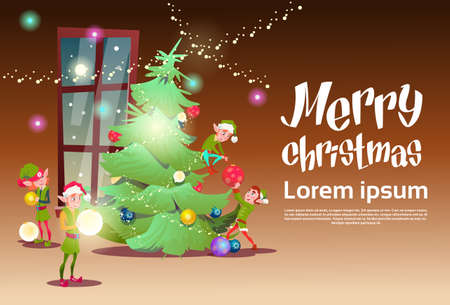 house of santa clause: Green Elf Group Decorate Christmas Tree Greeting Card Decoration Happy New Year Banner Flat Vector Illustration