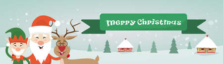house of santa clause: Merry Christmas Santa Clause Reindeer Elf Character Over Winter Snow House Village Poster Greeting Card Flat Vector Illustration Illustration