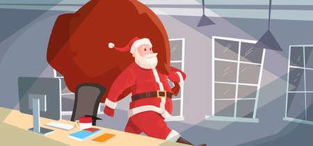 house of santa clause: Santa Claus Christmas Holiday Big Present Bag Gift Coming To Home Flat Vector Illustration