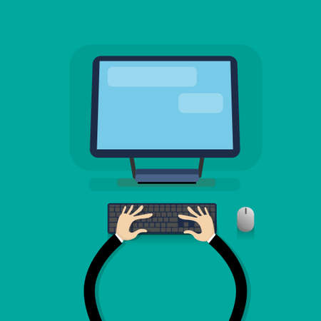 typing on keyboard: Desktop Modern Computer Workstation Hands Typing Keyboard Vector Illustration