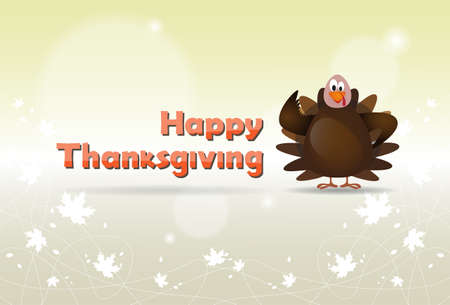 Happy Thanksgiving Day Turkey Autumn Traditional Holiday Banner Flat Vector Illustration