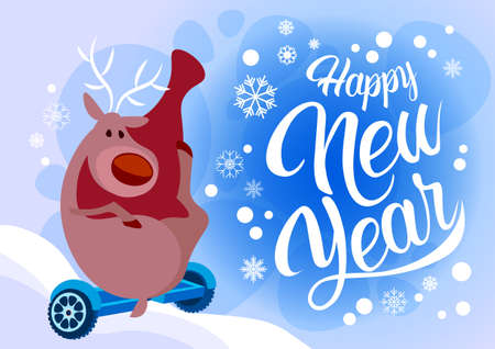 Reindeer Santa Helper Ride Electric Hover Board Happy New Year Holiday Merry Christmas Flat Vector Illustration