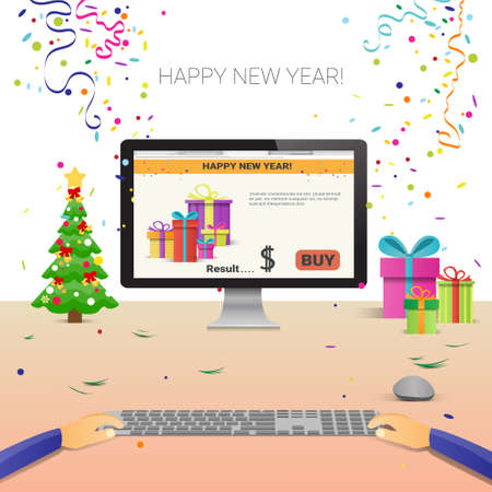 typing on computer: Decorated Workplace Computer Hands Using Typing Happy New Year Internet Christmas Sale Decoration Flat Illustration