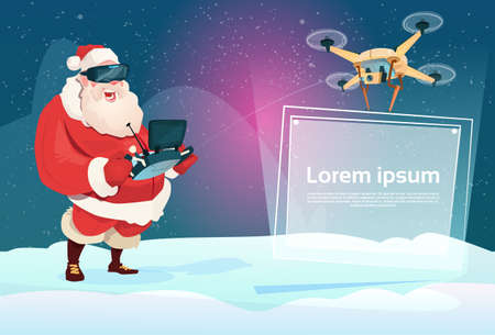 Santa Claus Wear Virtual Reality Digital Glasses Headset Drone Flying With Banner Signboard Copy Space Flat Illustration
