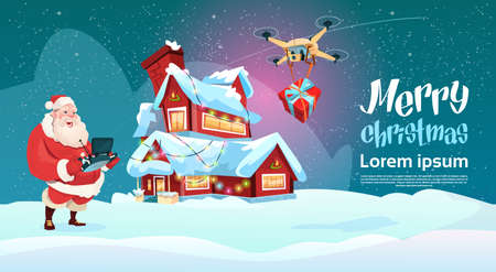 house of santa clause: Santa Claus Hold Remove Controller Drone Delivery Present, New Year Christmas Holiday Flat Illustration Illustration