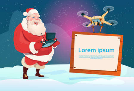 Santa Claus Hold Supprimer le contrôleur Drone Flying With Banner Signboard Copy Space Flat
